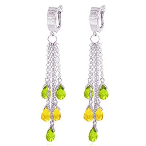 14k Briolette Peridot and Citrine Chandelier Earrings