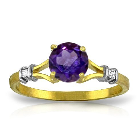 0.90ct Round Amethyst Ring with Diamond in 14k Gold