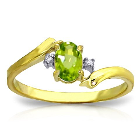 14k Gold Oval Peridot Ring with Diamond Accent