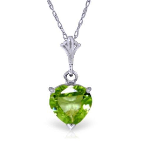 14k White Gold 1.15ct Heart Peridot Necklace