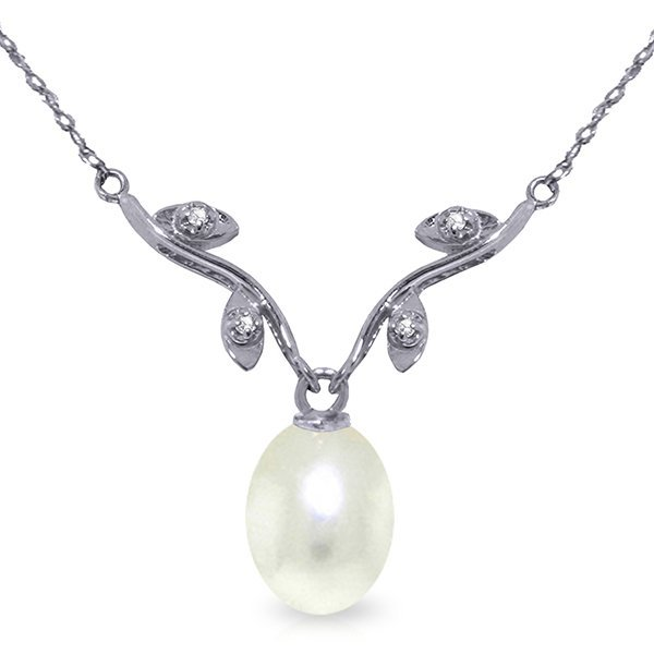 14k White Gold Pearl & Diamond Necklace