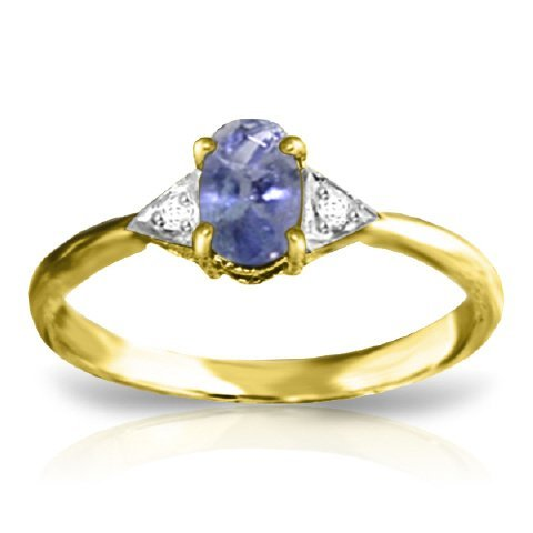 14k Gold 0.40ct Tanzanite Ring with Diamond Accent