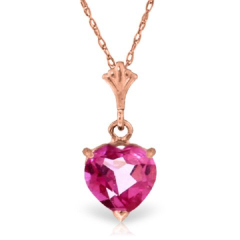14k Gold 1.15ct Heart Pink Topaz Necklace