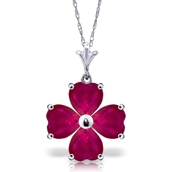 14k White Gold 3.60ct Ruby Heart Necklace
