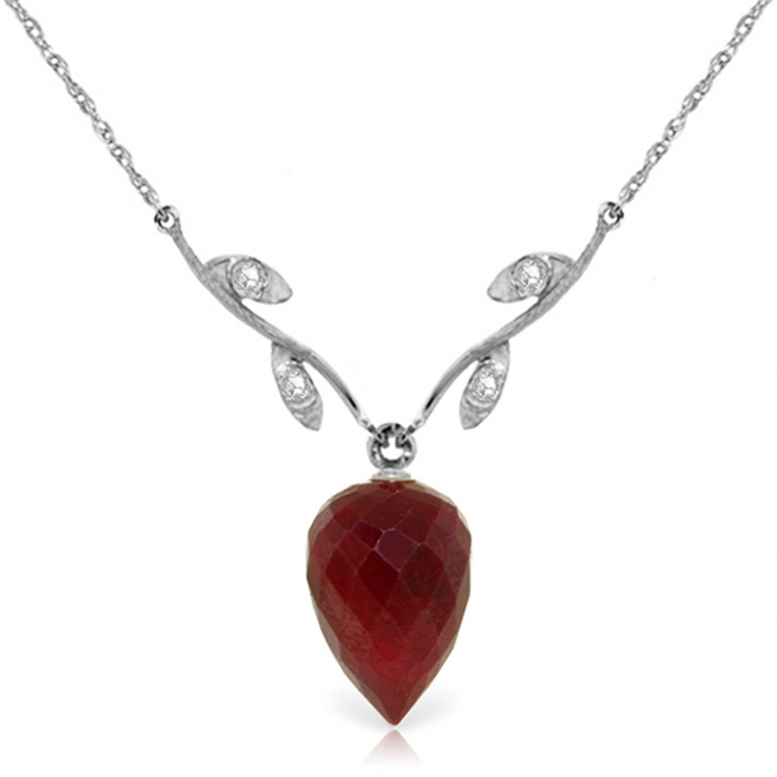14k Gold 13.0ct Ruby with Diamond Necklace