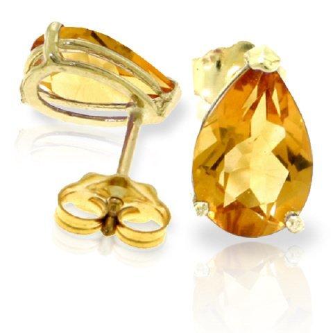 14k Gold 3.15ct Citrine Teardrop Stud Earrings
