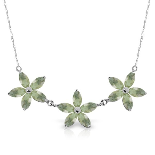 14K WG 4.20ct MARQUIS GREEN AMETHYST NECKLACE