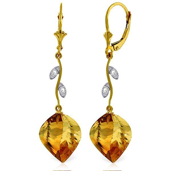 14K YG DIAMOND & 23.50ct TWISTED CITRINES EARRING
