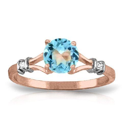 14K RG 0.02ct DIAMONDS & 1.00ct BLUE TOPAZ RING