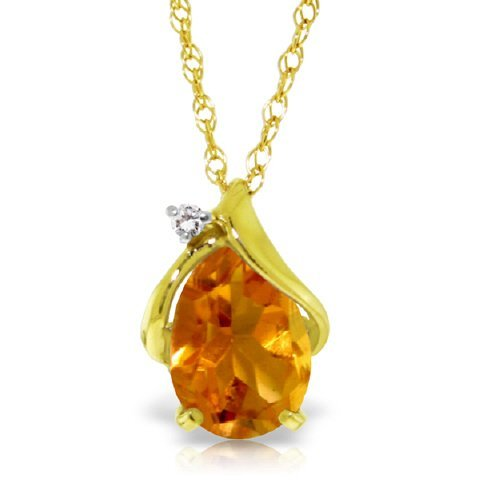 14k Gold 1.60ct Citrine Drop Necklace