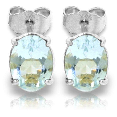 14k Gold 1.80ct Oval Aquamarine Stud Earrings