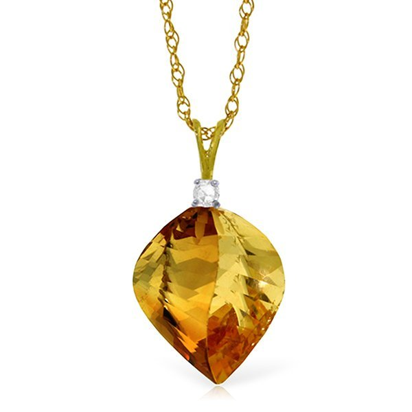 14k Gold 11.75ct Citrine with Diamond Necklace
