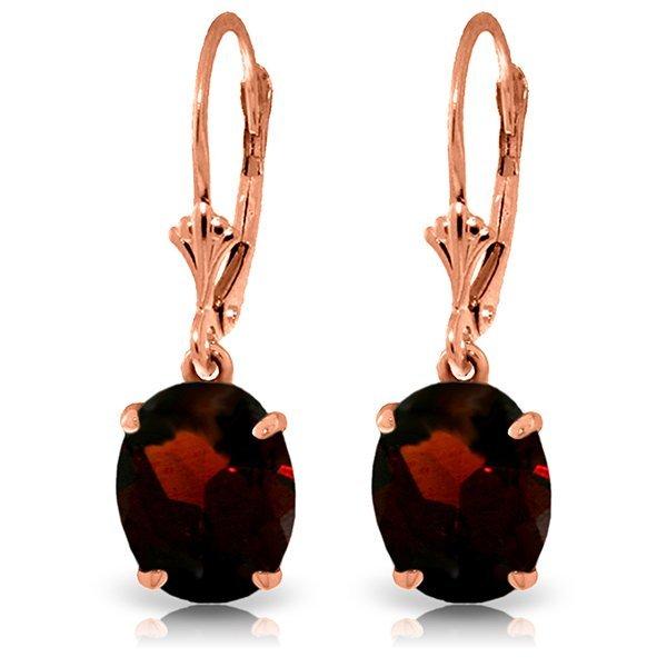 14k Rose Gold 6.25ct Oval Garnet Earrings