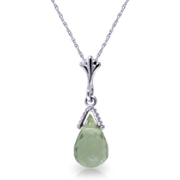 14k Gold 2.50ct Green Amethyst Briolette Necklace