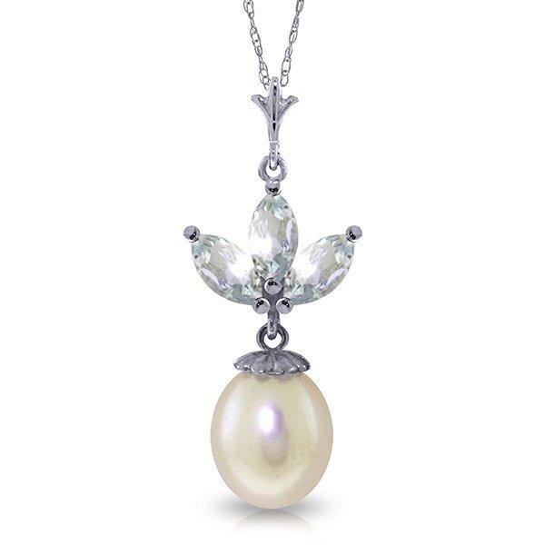 14k WG Pearl & 0.75ct Aquamarine Necklace