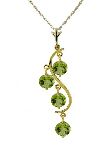 14k YG 2.25ct ROUND Peridot Chandelier Necklace