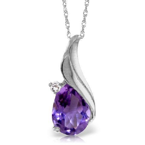 14k Gold Teardrop Amethyst Necklace with Diamond