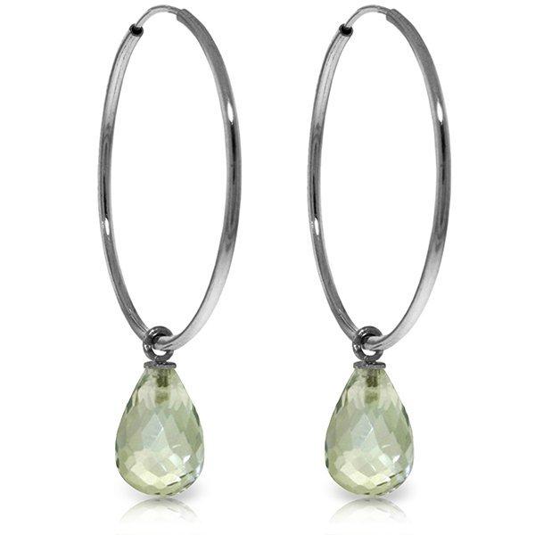 14k WG 4.50ct Green Amethyst Hoop Earrings
