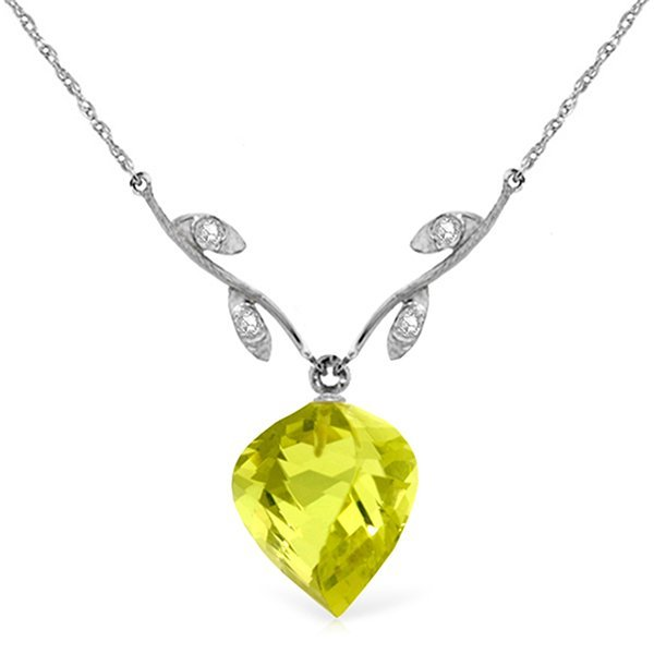 14k WG 10.75ct Lemon Quartz & Diamond Necklace