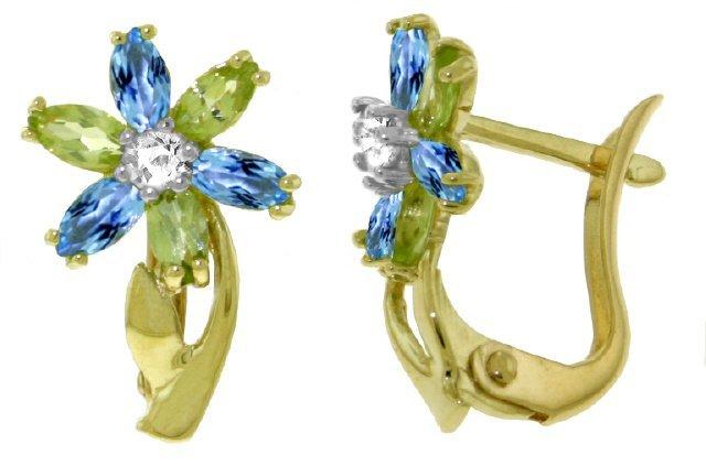 14k Gold Blue Topaz, Peridot and Diamond Flower Earring