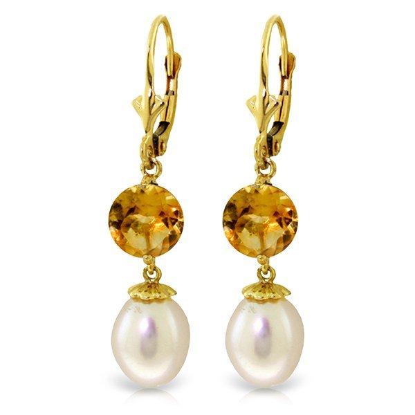14k YG 3.10ct Citrine & Pearl Dangle Earrings