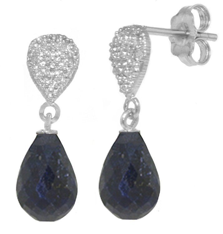 14k 6.60ct Sapphire with Diamond Drop Earrings