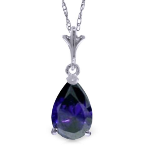 1.50ct Drop Sapphire Necklace in 14k WHITE GOLD
