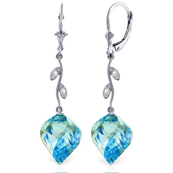 14K DIAMOND & 27.80ct SPIRAL BLUE TOPAZ EARRING