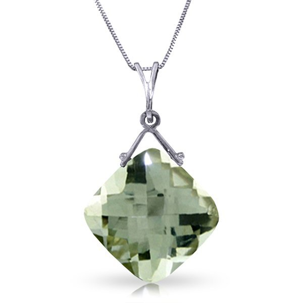14k WG 8.75ct Cushion Green Amethyst Necklace