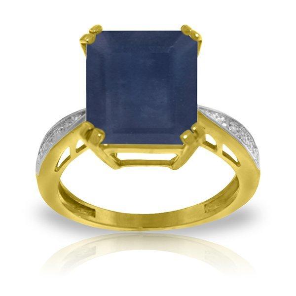 14K YG DIAMONDS & 7.25ct OCTAGON SAPPHIRE RING