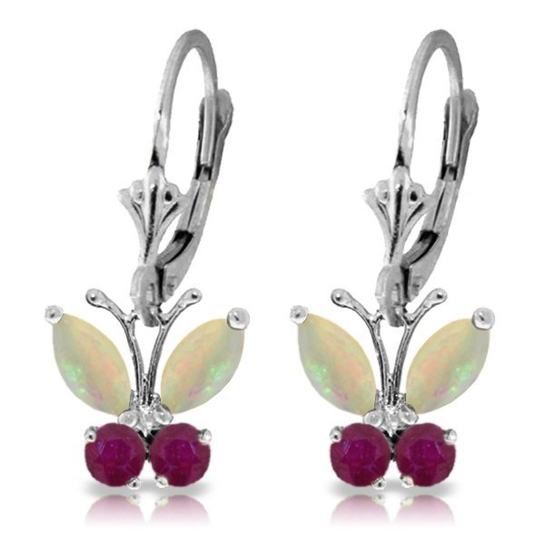 14k WG 1.00ct Opal and .39ct Ruby Butterfly Earrings