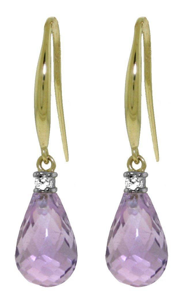 4.50ct Amethyst Fish Hook Earrings in 14k Yellow Gold