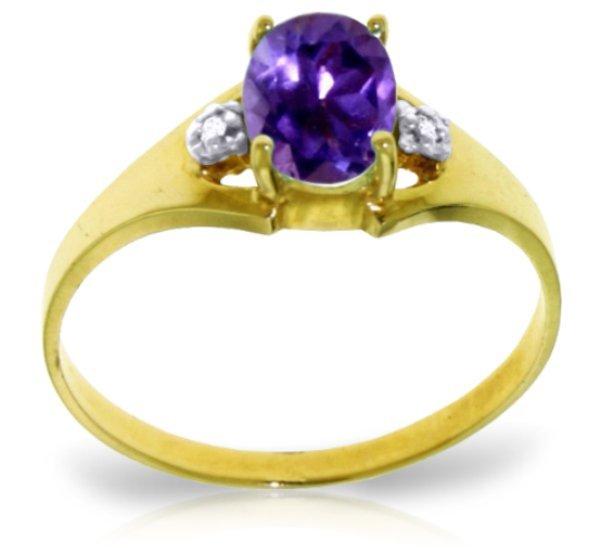 14k YG 0.75ct Amethyst & Diamond Ring