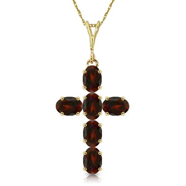 14k Yellow Gold 1.50ct Garnet Cross Necklace