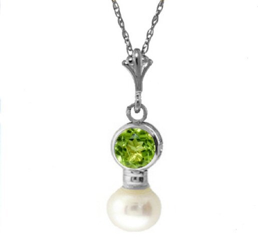 14k Bezel Set .48ct Peridot with .75ct Pearl Necklace