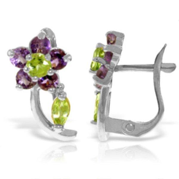 14k WG Amethyst & Peridot Flower Earrings