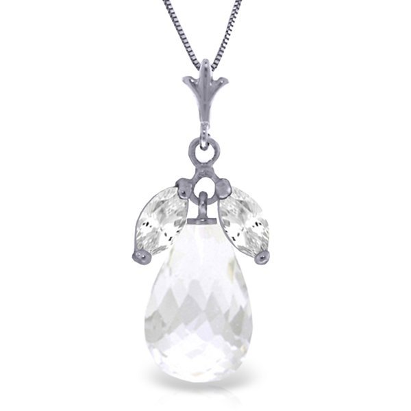 14k White Gold White Topaz Necklace