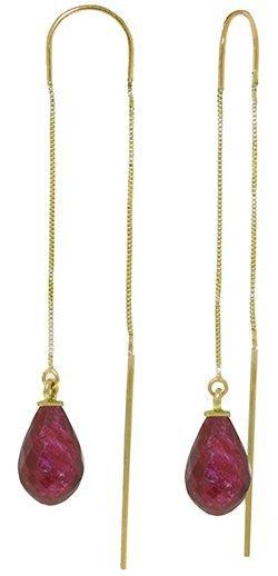 14k Yellow Gold 6.60ct Ruby Threaded Earrings