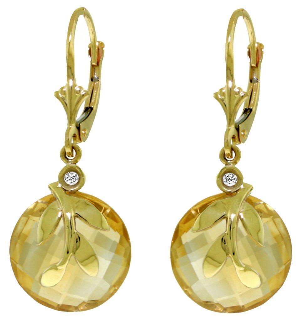 14k YG 10.60ct Citrine Earrings with bezel set Diamonds