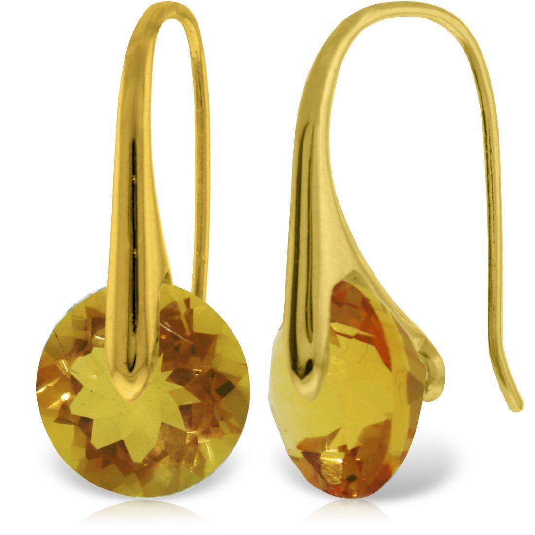 14k YG 11.50ct Citrine Fish Hook Earrings