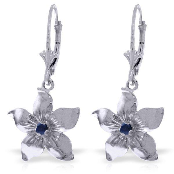 14k White Gold 0.20ct Sapphire Flower Earrings