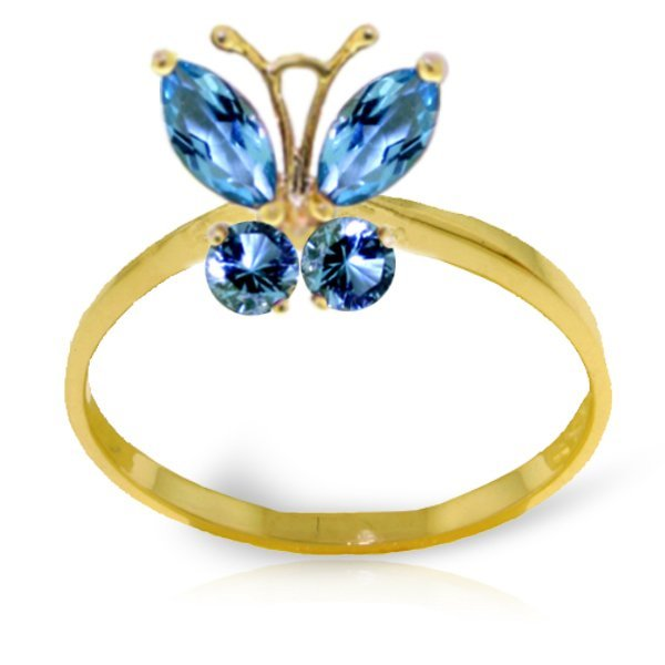 14k YELLOW GOLD .40ct & .20ct Blue Topaz Butterfly Ring