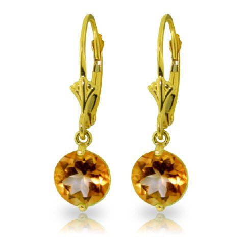 14k YELLOW GOLD 3.10ct ROUND Citrine Earrings