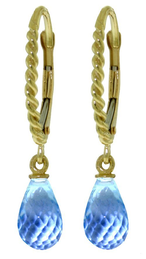 14k YG Rope Leverback Earrings with3.00ct  Blue Topaz