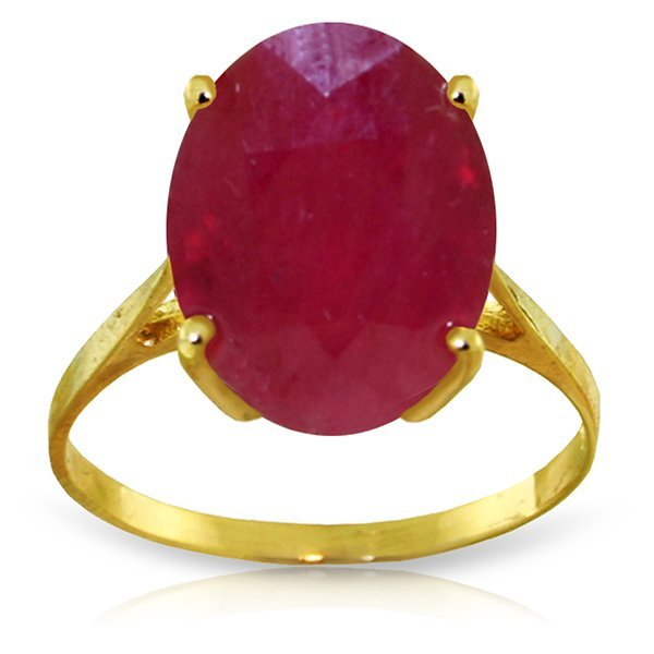 14k YG 7.50ct Ruby Oval Solitaire Ring