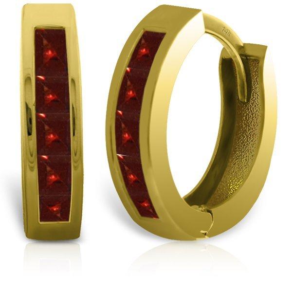 14k Solid Gold 1.30ct Garnet Earrings