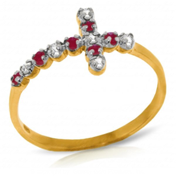 Diamond and Ruby Cross Ring in 14k Yellow Gold