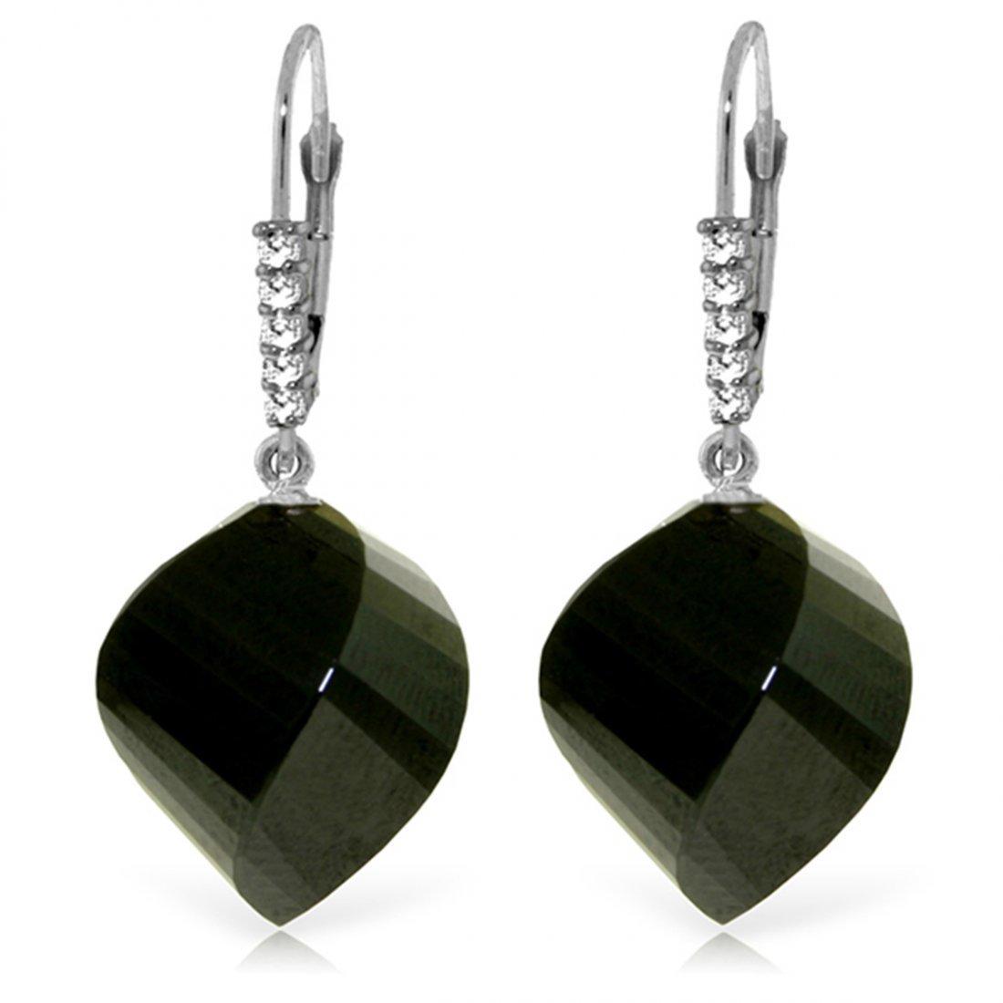 14k Briolette Black Spinel with Diamond Earrings