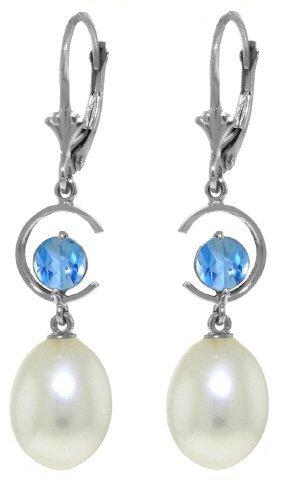 14k WG 1.0ct Blue Topaz & Pearl Earrings