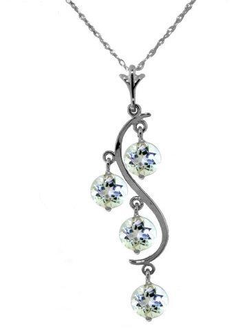 14k WG 2.25ct ROUND Aquamarine Chandelier Necklace